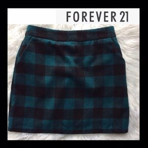 NWOT F21 Plaid Wool Mini Skirt